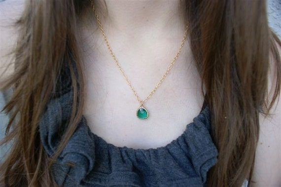 Gold Necklace, Dainty Gold Filled Necklace with Green Glass Pendant