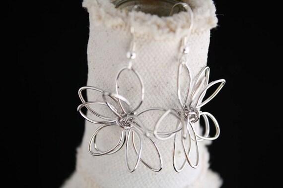 Silver Earrings, Silver Flower Earrings
