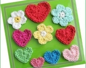 Pattern in PDF -- crocheted heart applique and flower applique