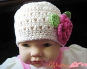 Super Easy PATTERN in PDF crocheted baby toddler Flower flapper beanie (Flapper Beanie 5) -- 6 - 9 months and 9 - 12 months