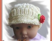 baby hat PATTERN Knitted baby visor beanie with a rose flower or ladybug