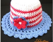 PATTERN in PDF -- crocheted cloche beanie hat with a large rose flower 4th July (Cloche 4) -- 5T - Preteen