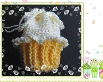 PATTERN crochet Cupcake bag, gift bag, Pouch, Sachet, purse