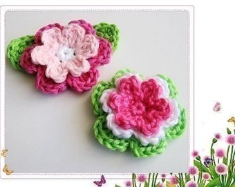 Pattern in PDF -- Crochet Flowers and leaves appliques -- Rose 3D Rose