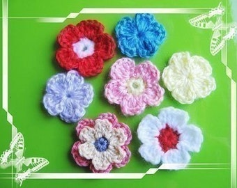 PATTERN crocheted flower applique --3 patterns including single flower, single flower with a center and 2-layer flower