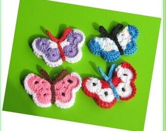 Butterfly PATTERN  crocheted butterfly applique  Butterfly