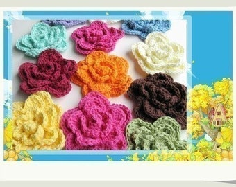 Pattern in PDF Crocheted Large 4-layer Rose Flower applique