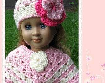 Pattern in PDF -- crocheted doll poncho for American Girl, Gotz or similar 12-18 inches dolls (Doll Poncho 1)