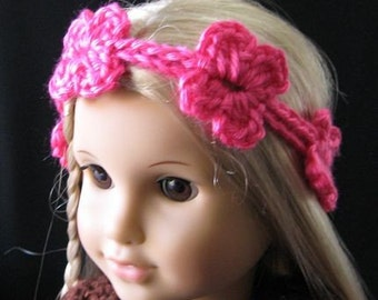 PATTERN in PDF -- Super Easy Crocheted Doll Headband flower for American girl, Blythe, Gotz or similar 15 to 18 inches dolls (Headband 1)