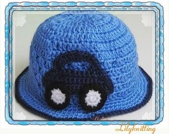 PATTERN in PDF crocheted baby cloche beanie hat with a car applique (Cloche 5) -- Newborn