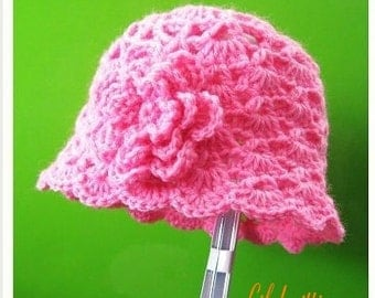 PATTERN in PDF Crocheted flapper beanie hat with a 2-layer flower (Flapper Beanie 43)-- 0 - 3 months and 3 - 6 months