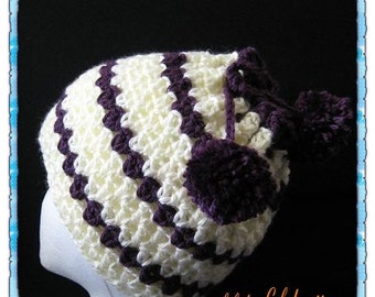 PATTERN in PDF crocheted hat, beanie and neckwarmer 2 in 1 multifunctional hat with pom pom (Flapper Beanie 80) -- Lady size