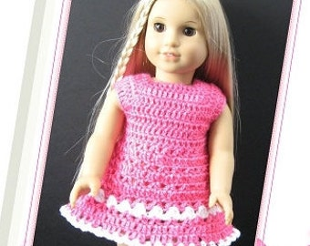 PATTERN in PDF -- crocheted doll dress fits American girl, Gotz, My twin or similar 18 inches dolls -- Doll Dress 22