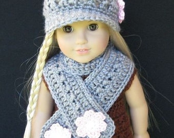Pattern in PDF -- crocheted doll Scarf for American Girl, Gotz, Blythe or similar 15 inches to 18 inches dolls ( Doll Scarf 1)