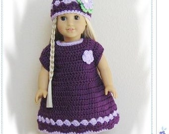 Pattern in PDF -- crocheted doll clothes dress for American Girl, Gotz, blythe or similar 18 inches dolls -- Doll Dress 17