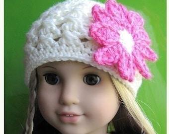 Pattern in PDF -- crocheted doll daisy flapper beanie hat for American Girl, Gotz or similar 18 inches dolls (Doll Hat 2)