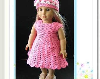 PATTERN in PDF-- Crocheted doll dress for American Girl, Gotz or similar 18 inches dolls (Doll Dress 8)