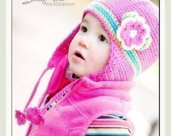 PATTERN in PDF crocheted earflap beanie hat with a large rose flower -- 12 - 24 months and 2T - 4T