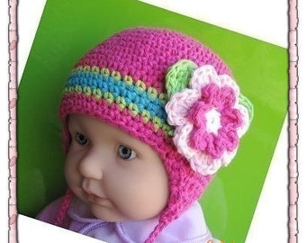 Pattern in PDF Crocheted baby earflap beanie hat -- 0 - 3 months and 3 - 6 months