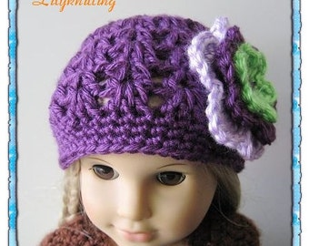 PATTERN in PDF Crocheted beanie for American Girl, my twin, Gotz or similar 18 inches dolls ( Doll Hat 18)