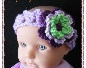 PATTERN in PDF -- Super Easy Crocheted flower baby headband (Headband 15)