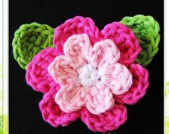PATTERN in PDF crocheted flower applique, Motify, Rose, Leaves -- Flower 22