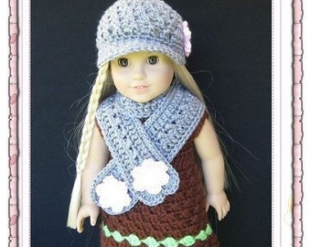 PATTERN in PDF crocheted doll cap hat for American girl, gotz, my twin or similar 18 inches dolls (Doll Hat 15)