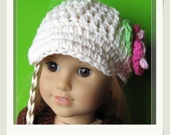 PATTERN in PDF crocheted doll cap hat for American girl, gotz, my twin or similar 18 inches dolls (Doll Hat 9)