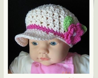PATTERN in PDF crocheted Newsgirl/Newsboy Beanie  (Newsgirl Beanie 4) -- 6 - 9 months and 9 - 12 months