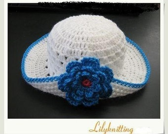 PATTERN in PDF -- crocheted baby cloche beanie summer hat with a large rose flower (Cloche 10) -- 0 - 3 months and 3 - 6 months
