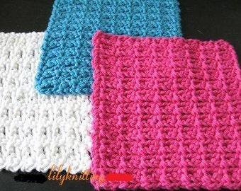 PATTERN  in PDF -- Super easy Crochet dishcloth (Dishcloth 12) -- Free shipping