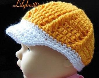 PATTERN in PDF -- Crocheted Visor beanie hat (Visor beanie 8) -- 12 - 24 months and 2T -  4T