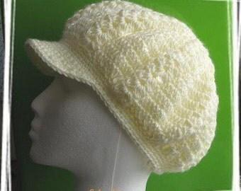 PATTERN in PDF -- Crocheted newsgirl/newsboy visor beanie/hat/cap -- Lady size