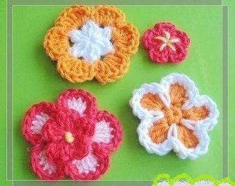 PATTERN in PDF crocheted flower applique -- 4 flower patterns