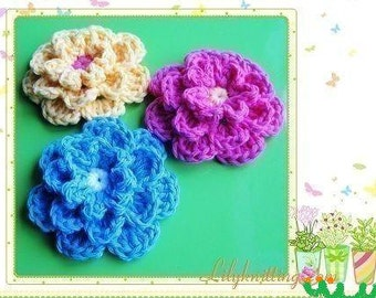 PATTERN in PDF crocheted flower applique -- 3 layers flower