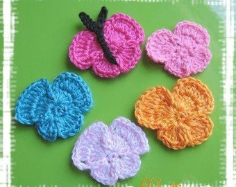 Pattern in PDF Crocheted Butterfly Flower applique -- Butterfly 2