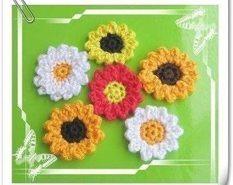 PATTERN in PDF crocheted large flower applique -- Sunflower