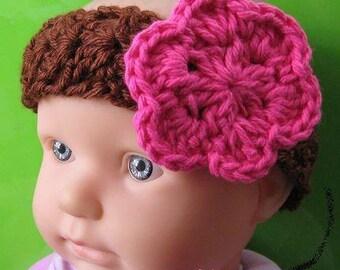 PATTERN in PDF Crocheted flower headband in ALL sizes (Headband 21) -- Flower headband