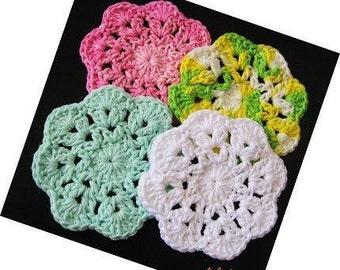 Pattern in PDF -- Super Easy crochet dishcloth washcloth ragcloth circle dishcloth facial cloth Coaster -- Dishcloth 18