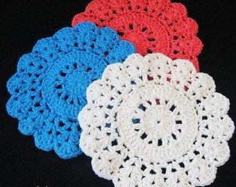 PATTERN  in PDF -- Crocheted circle dishcloth/washcloth with scallop edge, place mat, wash cloth, coaster, hot pad -- Dishcloth 57