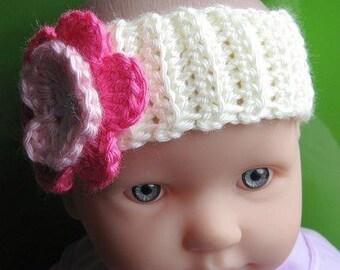 PATTERN in PDF Crocheted baby flower headband (Headband 2) -- flower headband