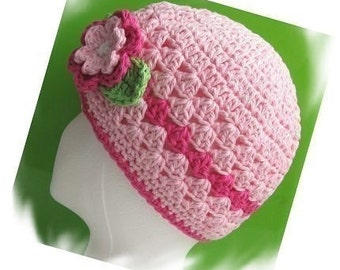 PATTERN in PDF Crocheted toddler beanie with a flower -- 5T - preteen