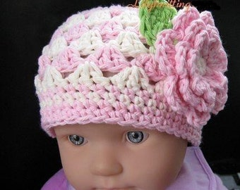 PATTERN in PDF crocheted baby Flower flapper beanie (Flapper Beanie 19) -- 12 - 24 months and 2T - 4T