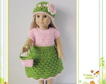 Pattern in PDF -- crocheted doll clothes dress for American Girl, Gotz or similar 18 inches dolls -- Doll Dress 18