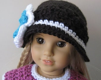 Pattern in PDF crocheted doll hat for American Girl, Gotz or similar 18 inches dolls -- Doll Hat 30