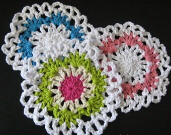 PATTERN  in PDF -- Crocheted circle dishcloth/washcloth with scallop edge, wash cloth, coaster, hot pad -- Dishcloth 72