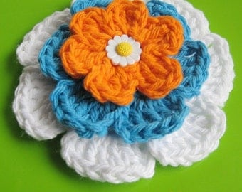 PATTERN in PDF crocheted flower applique -- 3 layers flower -- Flower 52
