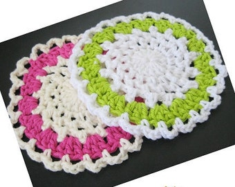 Pattern in PDF -- Crochet dishcloth washcloth, ragcloth, circle dishcloth, facial cloth, Coaster, cup mat -- Dishcloth 74