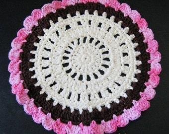 Pattern in PDF -- Crochet dishcloth washcloth ragcloth circle dishcloth facial cloth Coaster -- Dishcloth 75