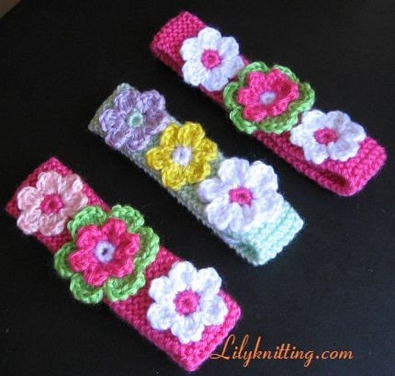 PATTERN in PDF Crocheted/Knitted flower baby headband